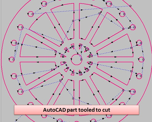 MetaCam AutoCAD screenshot tooled pathed part